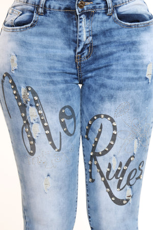 Women's No Rules Rhinestone Jean - Blue