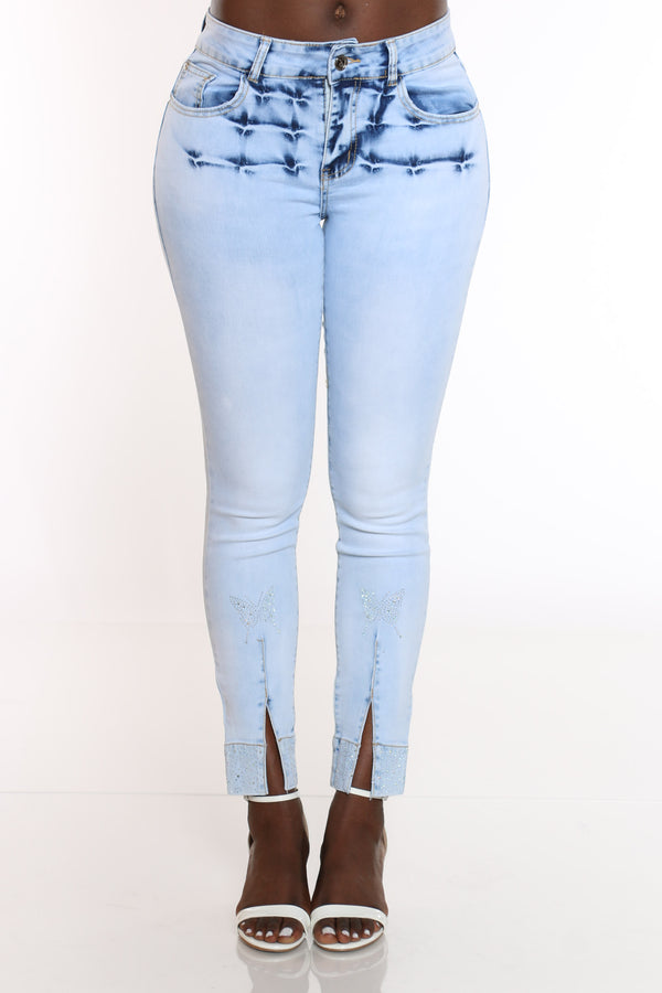 Women's Rhinestone Butterflies Split Ankle Jean - Light Blue-VIM.COM