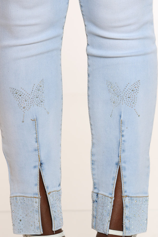 Women's Rhinestone Butterflies Split Ankle Jean - Light Blue