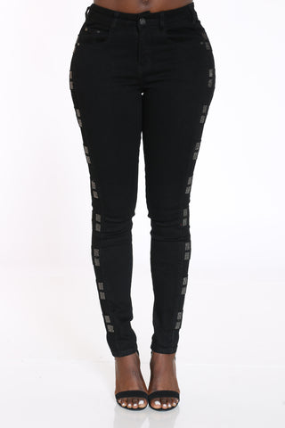 Women's Rhinestone Trim Cut Jean - Black-VIM.COM