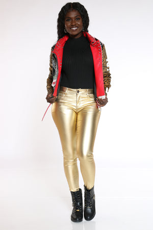 Women's Shiny Coated Pant - Gold