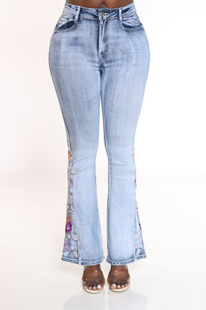 Women's Flare Leg Side Flower Jean - Medium Blue-VIM.COM