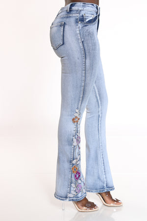 Women's Flare Leg Side Flower Jean - Medium Blue