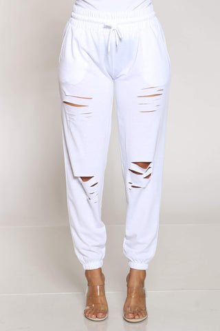 Women's Hulda French Terry Slits Jogger - White