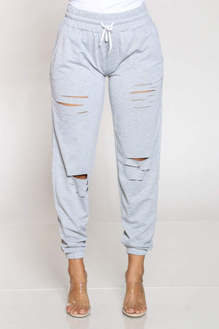 Women's Hulda French Terry Slits Jogger - Heather Grey