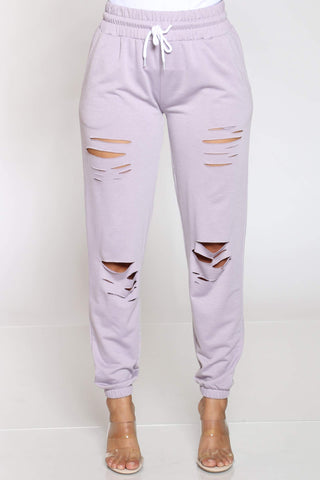 Women's Hulda French Terry Slits Jogger - Lavender