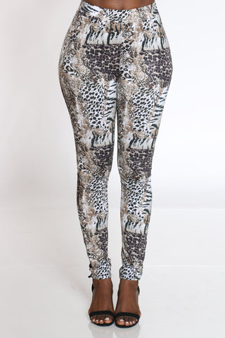 Women's Animal Print Tricot Pant - White-VIM.COM