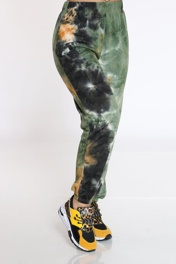 Women's Tie Dye French Terry Jogger - Green-VIM.COM