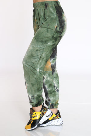 Women's Tie Dye French Terry Jogger - Green