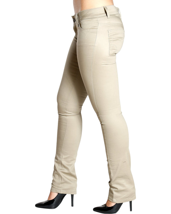 Dickies Girl Back To School Twill Color Skinny Pant - Khaki - ShopVimVixen.com
