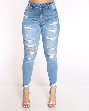 Women's Amy Heavy Ripped Fray Hem Jean - Medium Blue-VIM.COM
