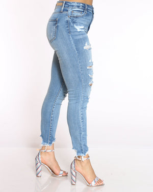 Women's Amy Heavy Ripped Fray Hem Jean - Medium Blue