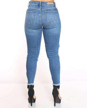 Women's Heavy Ripped Fray Hem Jean - Medium Blue