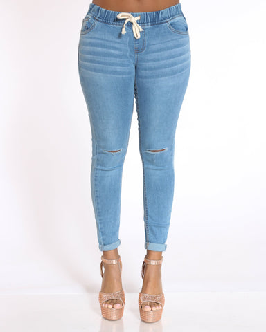 Women's Casey Knee Slits Cuffed Bottom Jean - Medium Blue