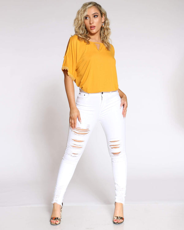 Women's Bettie Heavy Ripped Skinny Jean - White-VIM.COM