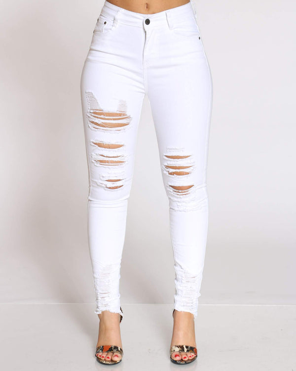 Women's Bettie Heavy Ripped Skinny Jean - White