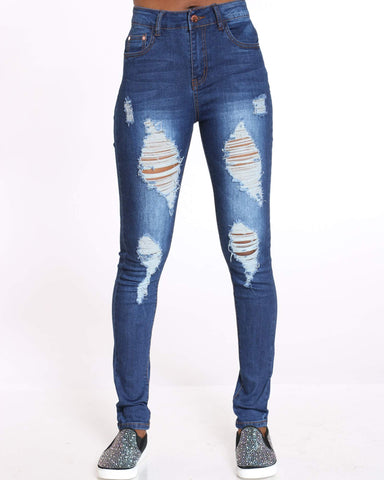 Women's Heavy Ripped Skinny Jean - Dark Blue-VIM.COM