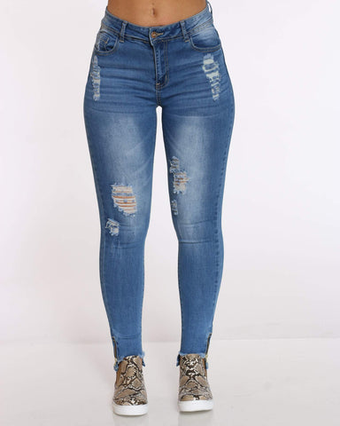 Women's Kim Ripped Cut Step Jean - Light Blue-VIM.COM