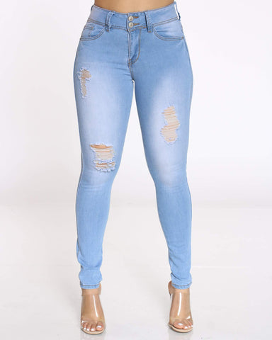 Women's Jama 2 Button Ripped Jean - Light Blue