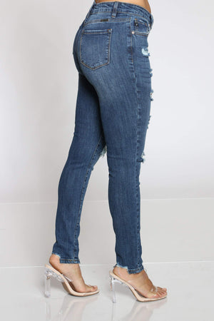 Women's Midrise Ripped Jean - Dark Blue