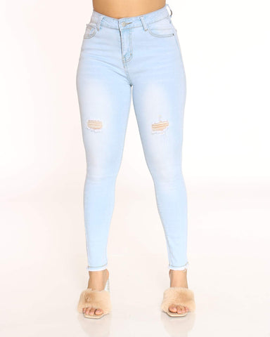 Women's Fray Hem Front Ripped Jean - Light Blue-VIM.COM