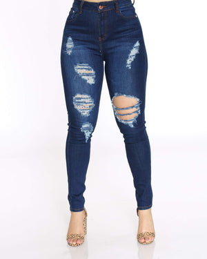 Women's Heavy Ripped Jean - Dark Blue-VIM.COM