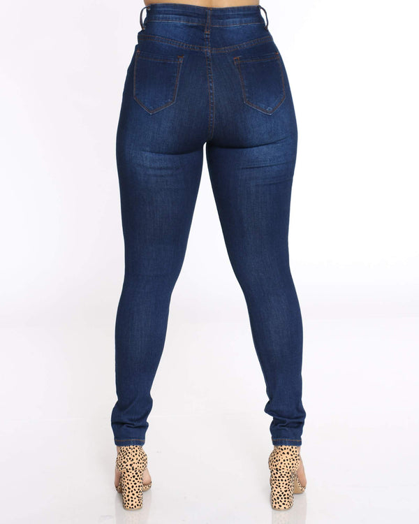 Women's Heavy Ripped Jean - Dark Blue