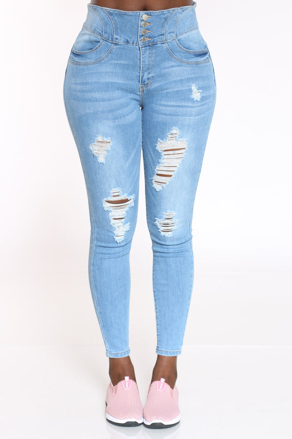 Women's 4 Button Ripped Tummy Slimming Jean - Light Blue-VIM.COM
