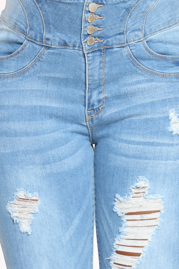 Women's 4 Button Ripped Tummy Slimming Jean - Light Blue