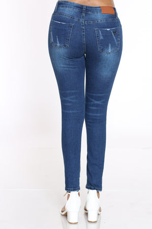 Women's Ripped Skinny Jean - Dark Blue
