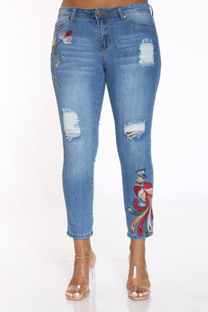 Women's Peacock & Flowers Ripped Jean - Medium Wash-VIM.COM