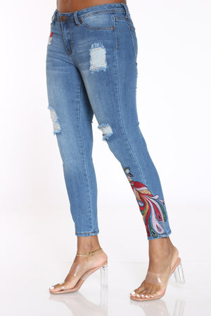 Women's Peacock & Flowers Ripped Jean - Medium Wash