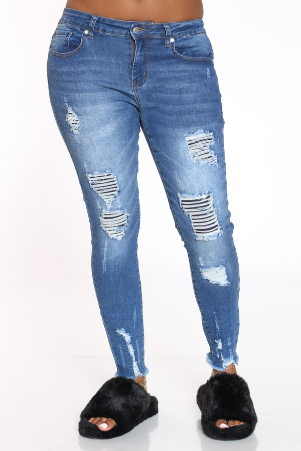 Women's Ripped Fray Hem Jean - Medium Blue-VIM.COM
