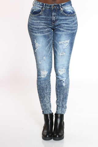 Women's Acid Wash Ripped Backing Jean - Blue-VIM.COM