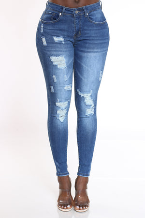 Women's Ripped Backing & Blasting Jean - Dark Blue-VIM.COM