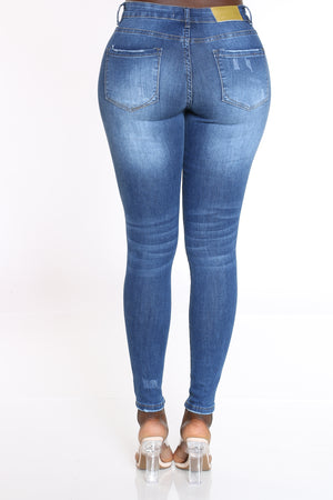 Women's Ripped Backing & Blasting Jean - Dark Blue