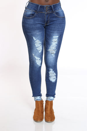 Women's 3 Button Ripped Cuffed Ankle Jean - Dark Blue-VIM.COM