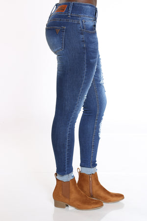 Women's 3 Button Ripped Cuffed Ankle Jean - Dark Blue