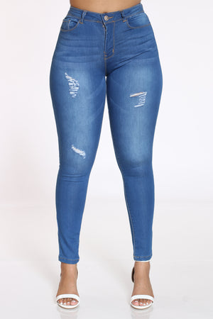 Women's Ripped Skinny Jean - Dark Blue-VIM.COM