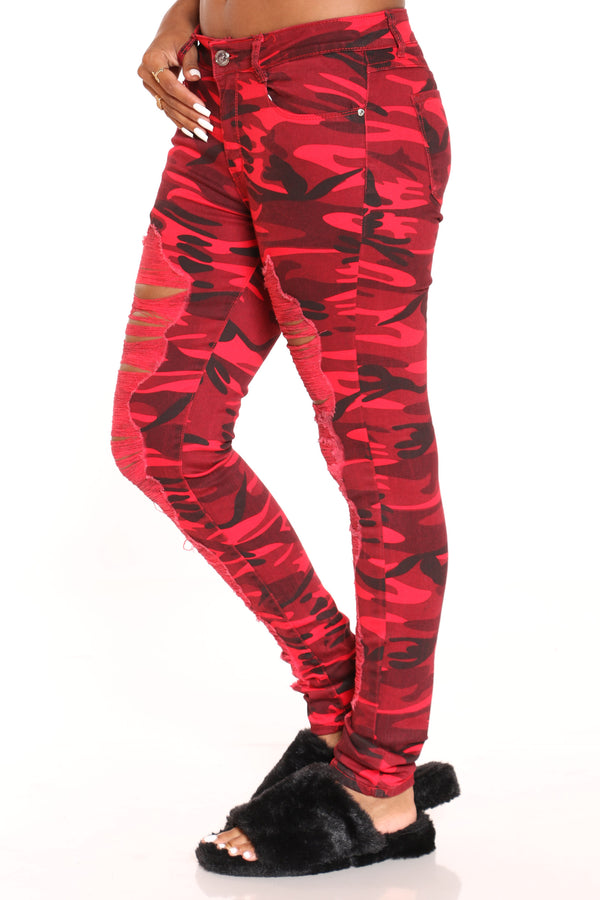 Women's Camo Ripped Jean - Red
