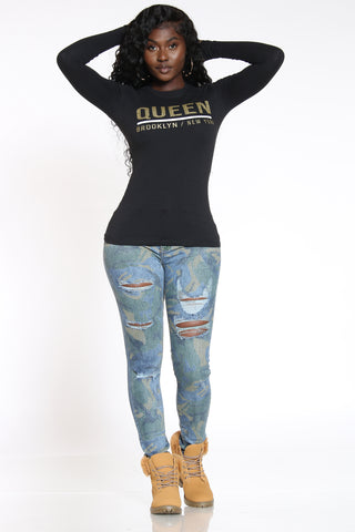 Women's Camo & Ripped Printed Jean - Blue-VIM.COM