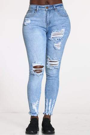 Women's Mid Rise Ripped Jean - Light Blue