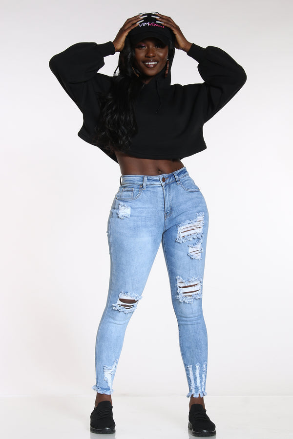 Women's Mid Rise Ripped Jean - Light Blue-VIM.COM