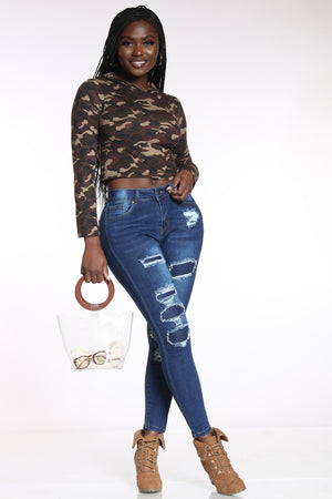 Women's Ripped & Repair Skinny Jean - Dark Blue-VIM.COM
