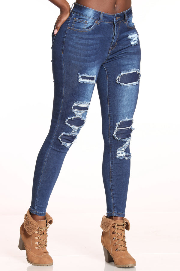 Women's Ripped & Repair Skinny Jean - Dark Blue