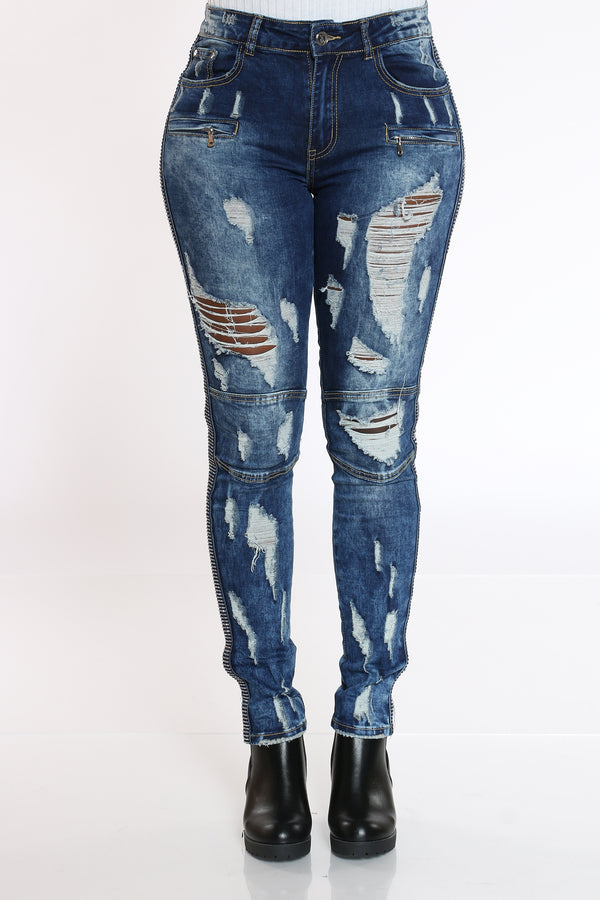 Women's Rhinestone Trim Ripped & Moto Jean - Dark Blue-VIM.COM