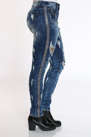 Women's Rhinestone Trim Ripped & Moto Jean - Dark Blue