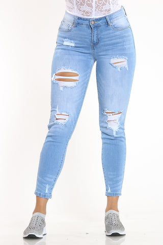 Women's Ripped Mid Rise Skinny Fit Jean - Light Blue-VIM.COM