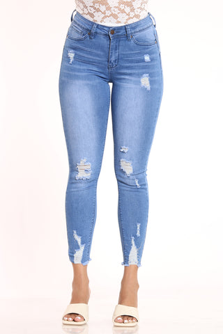 Women's Ripped Mid Rise Skinny Fit Jean - Medium Blue-VIM.COM