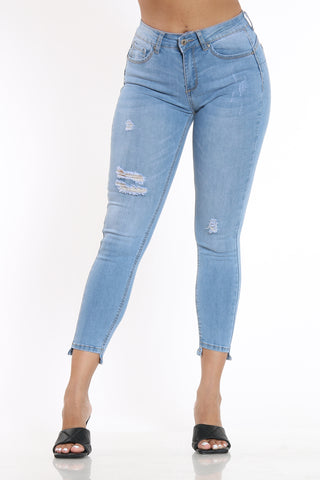 Women's Ripped Step Cut Skinny Fit Jean - Light Blue-VIM.COM